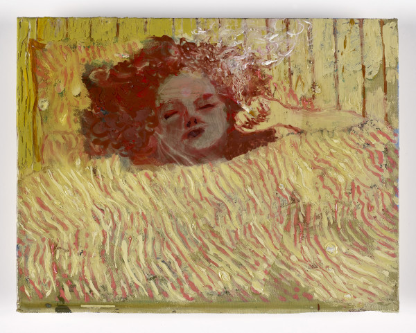 Andrew Cranston Every night me go to sleep ( me have wet dream), 2017 oil and varnish on hardback book cover 18.1 x 23.8 cm 7 1/8 x 9 3/8 in