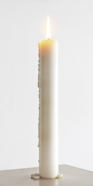 Katie Paterson Candle (from Earth into a Black Hole), 2015 Scented candle, 23 layers, Parafin wax, wick, fragrance edition of 45 plus 2 AP This edition 16/45 29 x 3 x 3 cm (candle) 38.2 x 20.7 x 5.2 cm (Boxed)