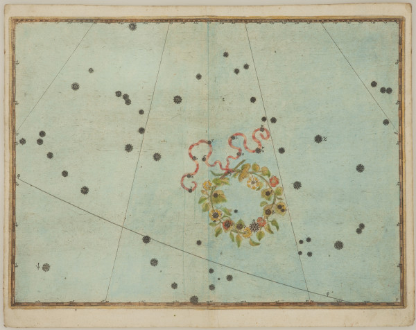Johann Bayer 1572-1625 Uranometria: Corona Borealis, 1639 hand-coloured engraving, with gold highlights (book page) 28.5 x 38 cm (unframed)