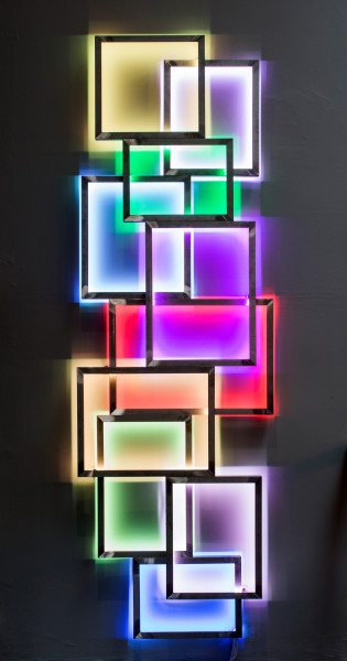 David Batchelor Glowstick 1, 2016 Stainless steel, LED lights, DMX controller 75 x 220 x 10 cm 29 1/2 x 86 5/8 x 4 in