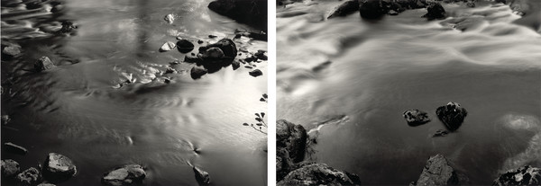 Thomas Joshua Cooper Picnicking on the River North Esk - Glen Esk, Angus, Scotland, 1997-2014 silver gelatin prints, hand toned & printed by the artist Two parts Edition of 4. This is 2/4 20.3 x 25.4 cm each print size 37.5 x 45 cm each framed