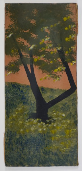 Frank Walter Tree in a Meadow with Orange Sky oil on card 27.7 x 12.4 cm page size