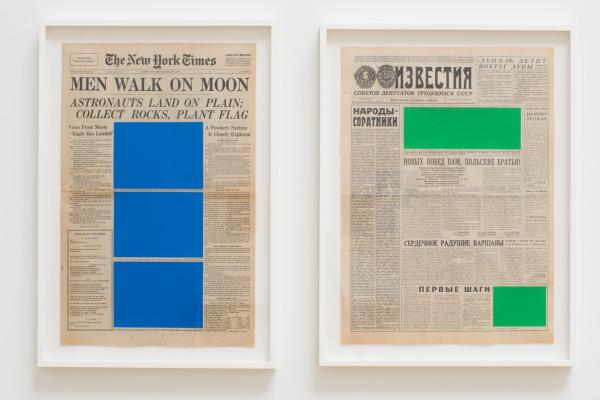 Marine Hugonnier Art For Modern Architecture (New York Times – Moon Landing – 21/07/69 & Izvestiya – Moon Landing – 21/07/69), 2018 Silk screen paper clips onto vintage newspaper front pages 67 x 46 cm (framed) 69 x 53 cm (framed)