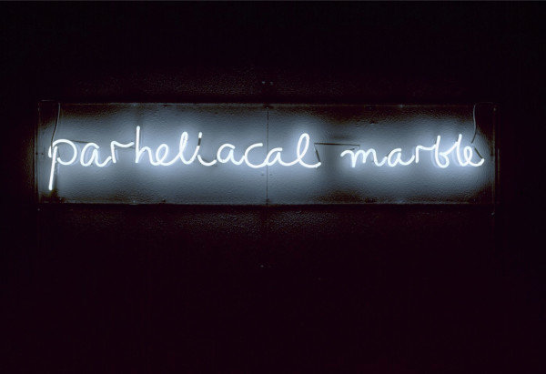 Ian Hamilton Finlay Parheliacal Marble, 1992 neon, with Julie Farthing 33.5 x 151 cm 13 1/4 x 59 1/2 in