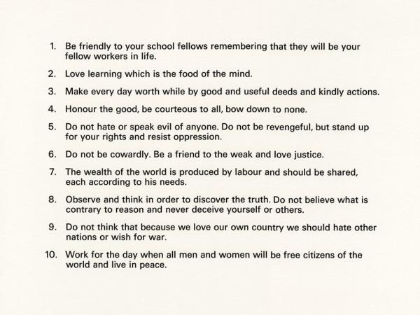 Ruth Ewan, Precepts (Socialist Fellowship), 2012