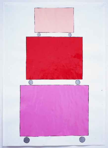 David Batchelor Three Dollies - Stacked (pink), 1999 gloss paint, aluminium paint, pencil and ink on graph paper 59.5 x 42 cm (paper)