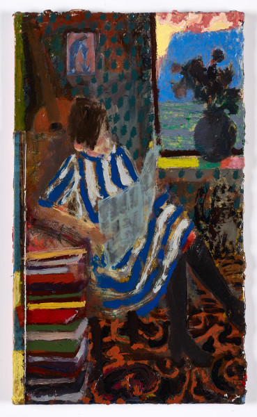 Andrew Cranston Reader, 2018 oil and varnish on hardback book cover 28.3 x 16.6 cm 11 1/8 x 6 1/2 in