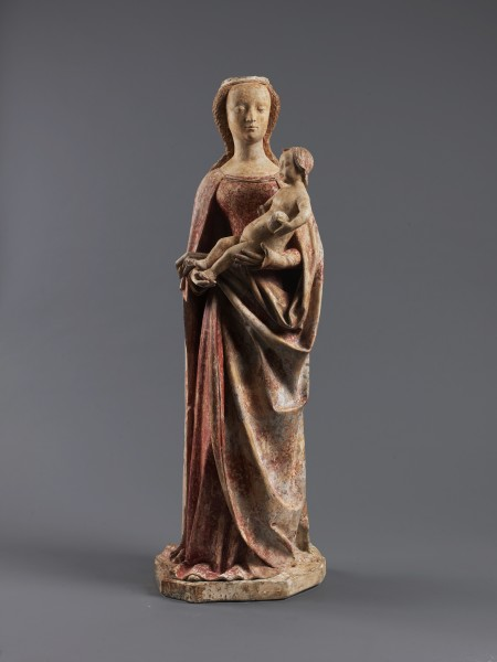 Bourbonnais Virgin and Child, 15th Century Stone h: 94 cm / 37 in w: 30.5 cm / 12 in