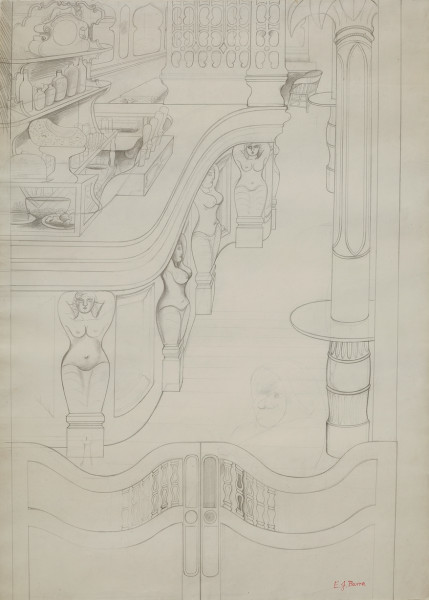 Edward Burra Cafe Bar with Caryatids, 1930-31 pencil on paper 29 x 20 in / 73.7 x 50.8 cm