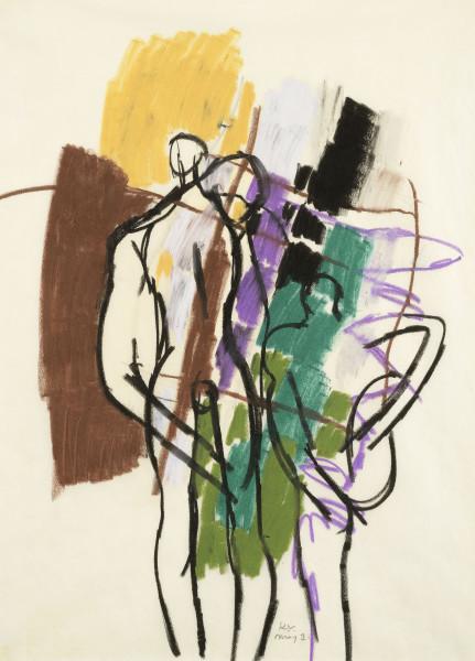 Keith Vaughan Three Figures, c. 1960 crayon & gouache on paper 52.5 x 41 cm / 20 3/4 x 16 in