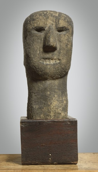 Anglo Saxon Stone Head (Yorkshire), c. 3rd Century BC Stone with oak base h: 39 cm / 16 in