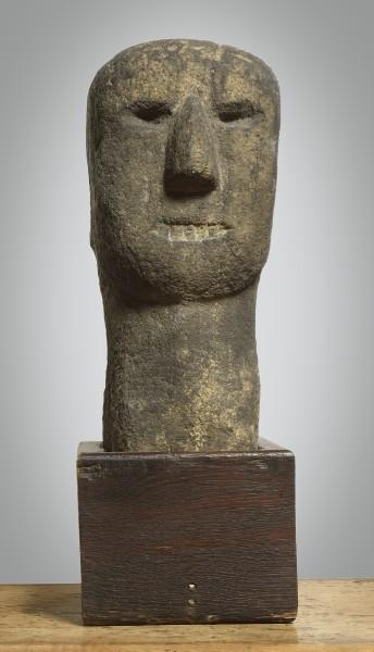 Celtic Stone Head, circa 3rd Century BC Stone with oak base h: 39 cm / 16 in