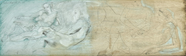 Barbara Hepworth Reclining Figures, 1952 Pencil, oil & oil wash on board 25 x 84 cm / 9 3/4 x 33 in