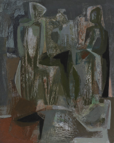 John Wells Female Forms, 1958 oil on canvas 19 x 16 in / 48 x 40 cm