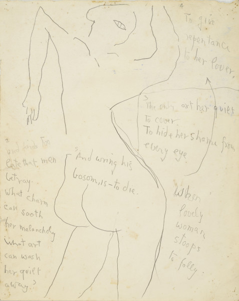 Roger Hilton When Lovely Women Stoops to Folly, 1973 pencil on paper 38 x 30 cm / 15 x 12 in