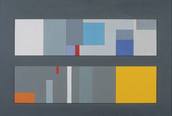 John Wells Two Related Movements, 1967 oil on board 25 1/4 x 37 1/4 in/ 64 x 94.5 cm