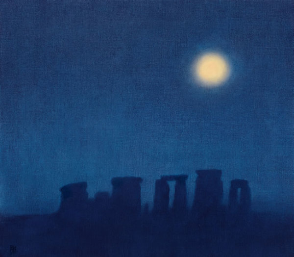 Michael Bennallack Hart Stonehenge Oil on canvas 16 x 18ins (40.6 x 45.7cm) (artwork size) 17.6 x 19.69ins (44.7 x 50cm) (framed size)
