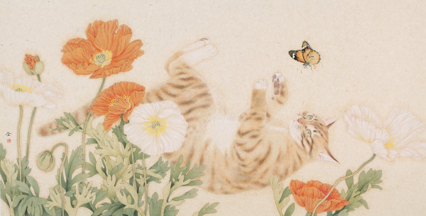 Zhou Quan Cat and Butterfly Ink and Chinese pigments on rice paper 14.2 x 27.5ins (36 x 70cm) (artwork size) 14.84 x 28.15ins (37.7 x 71.5cm) (framed size)