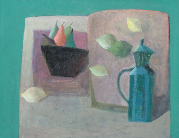 Nicholas Turner  Coffee Pot and Lemons  Oil on linen  14 x 18ins (36 x 46cm)