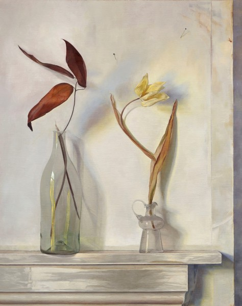 Susan Angharad Williams, Clematis, Leaves and Yellow Tulip