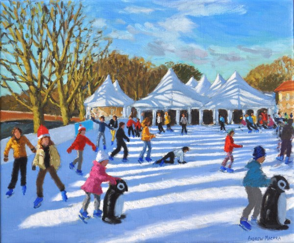 Andrew Macara Bright Morning, Hampton Court Palace Ice Rink Oil on linen 20 x 24ins (50.8 x 61cm) (artwork size) 23.03 x 27.05ins (58.5 x 68.7cm) (framed size)