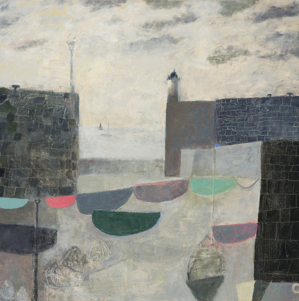 Nicholas Turner  Boats in a Harbour  Oil on linen  31.5 x 31.5ins (80 x 80cm)