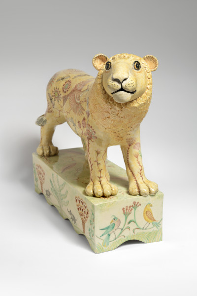 Georgina Warne Lion High fired earthenware 16.5 x 20.5 x 7.18 ins (42 x 52 x 18 cm)