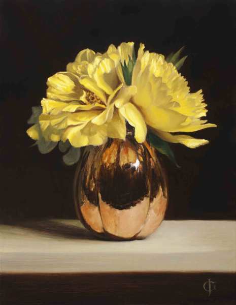 James Gillick Yellow Peonies in a Copper Vase Oils on linen over panel 18.27 x 14.17ins (46.4 x 36cm) (artwork size) 26.26 x 22.2ins (66.7 x 56.4cm) (framed size) Reprise available on request: £10,250