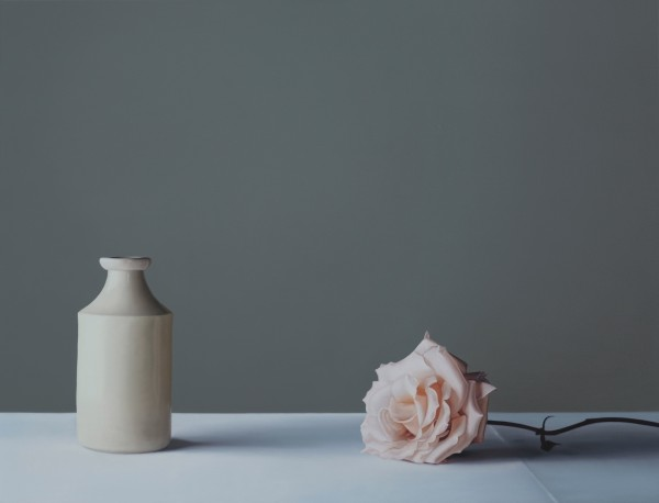 Jo Barrett, Still Life with Stoneware Bottle and Rose , 2020