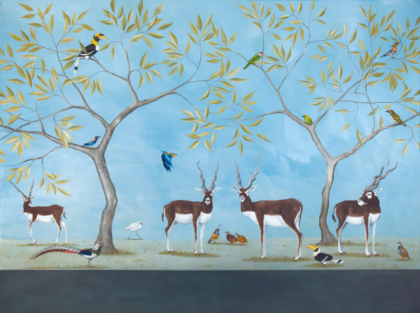 Rebecca Campbell  A Herd of Indian Antelope  Oil on linen  35.8 x 48ins (91 x 122cm)