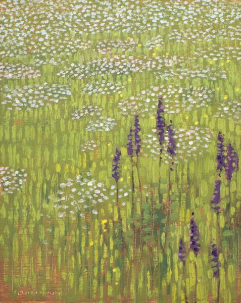 David Grossmann Wildflowers in Morning Sun Signed (bottom left) oil on linen panel 10 x 8ins (25.4 x 20.3cm)