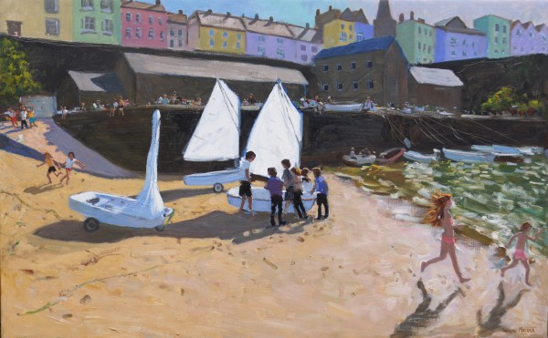 Andrew Macara The Sailing Lesson, Tenby Oil on linen 30 x 48ins (76.2 x 121.9cm) (artwork size) 37.87 x 55.91ins (96.2 x 142cm) (framed size)