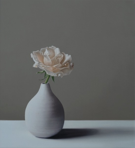 Jo Barrett, Still Life with Small Tin Glazed Bottle and Rose