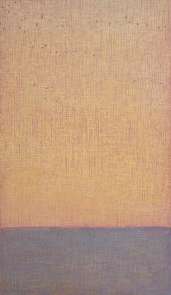 David Grossmann Strands of Geese on Orange Sky Oil on linen over panel 34 x 20ins (86.4 x 50.8cm)