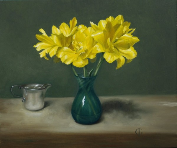 James Gillick, Yellow Tulips in a Turquoise Vase