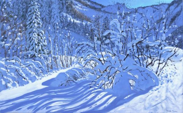 Andrew Macara Fresh Snow, Les Arcs, France Oil on linen 30 x 48ins (76.2 x 121.9cm) (artwork size) 37.6 x 55.59ins (95.5 x 141.2cm) (framed size)