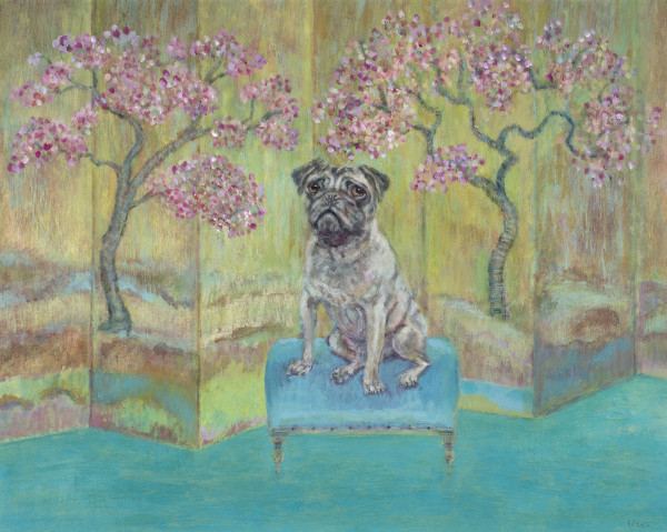 Tracy Rees Pug Acrylic on board 11.75 x 15ins (30 x 38cm)