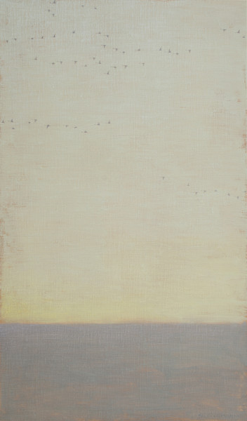 David Grossmann Strands of Geese on Grey Sky Oil on linen over panel 34 x 20ins (86.4 x 50.8cm)