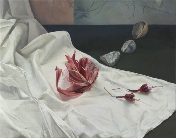 Cloth, Flowers, and a Line of Stones