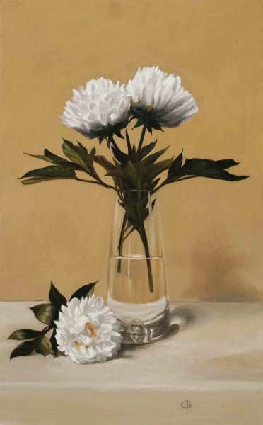 James Gillick White Peonies in a Tall Glass Vase Oils on linen over panel 25 x 15.47ins (63.4 x 39.3cm) (artwork size) 33.07 x 23.43ins (84 x 59.5cm) (framed size) Reprise available on request: £11,000
