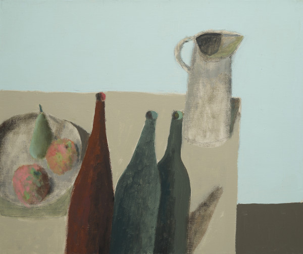 Nicholas Turner Table with Bottles Oil on linen 19.75 x 23.7ins (50 x 60cm) (artwork size) 22.01 x 26.98ins (55.9 x 66cm) (framed size)
