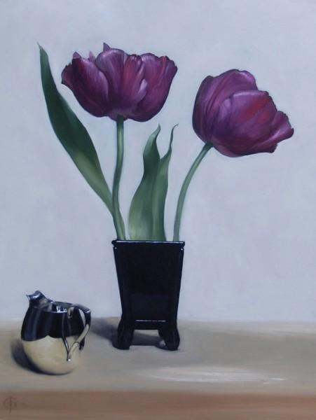 James Gillick, Mauve Tulips and Silver Jug