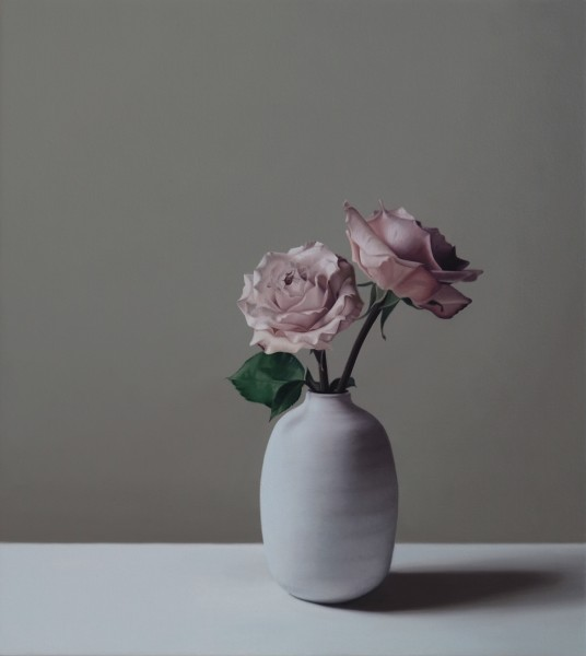 Jo Barrett, Still Life with Tin Glazed Bottle and Roses