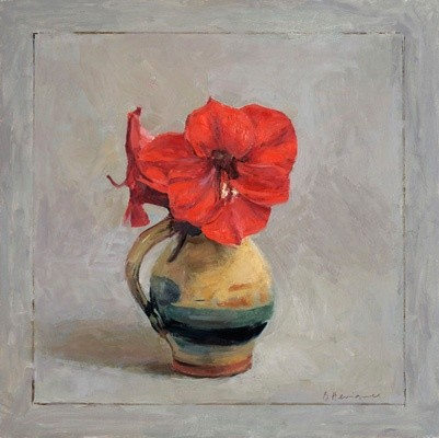 Red Amaryllis in an earthenware jug