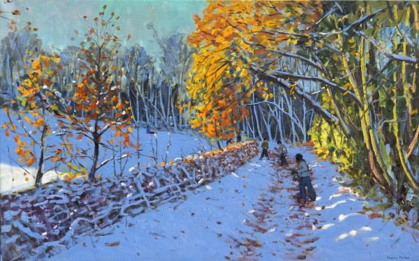Andrew Macara Snowballers, Allestree Park, Derby Oil on linen 30 x 48ins (76.2 x 121.9cm) (artwork size) 38.31 x 56.3ins (97.3 x 143cm) (framed size)