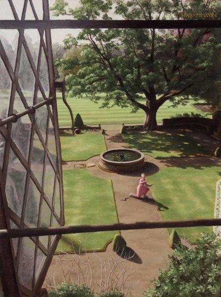 Harry Steen  Rainthorpe - Out Window to Terrace  Oil on board  16 x 12ins (40.6 x 30.5cm)