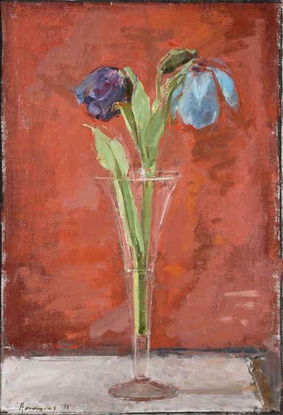 Ben Henriques  Blue Poppies  May 2017  Oil on canvas panel  16.5 x 11.38ins (42 x 28.8cm) (artwork size)  20.9 x 15.8ins (53 x 40cm) (framed size)