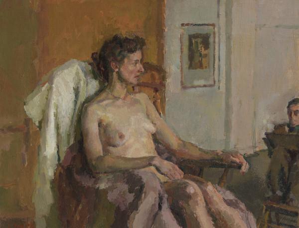 John Linfield In the Studio Oil on board 10.83 x 14.98ins (27.5 x 35.5cm) (artwork size) 15.91 x 19.09ins (40.4 x 48.5cm) (framed size)