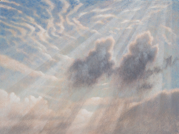 James Lynch  Shafts of Sunlight II  Egg tempera on gesso coated wood panel  9 x 12ins (23 x 30.5cm)