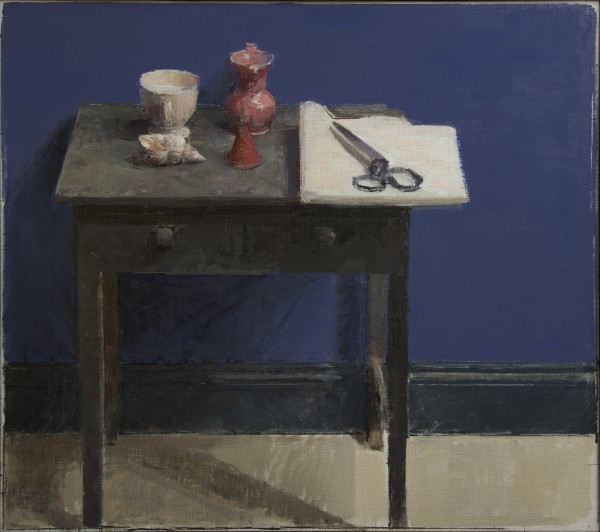 Ben Henriques Side Table, Scissors and Shell Oil on canvas panel 31.89 x 35.83ins (81 x 91cm) (artwork size) 37.01 x 40.63ins (94 x 103.2cm) (framed size)